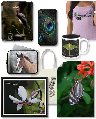 iPhone cases, iPod cases, laptop sleeves, mugs, posters, prints, t-shirts and more.
